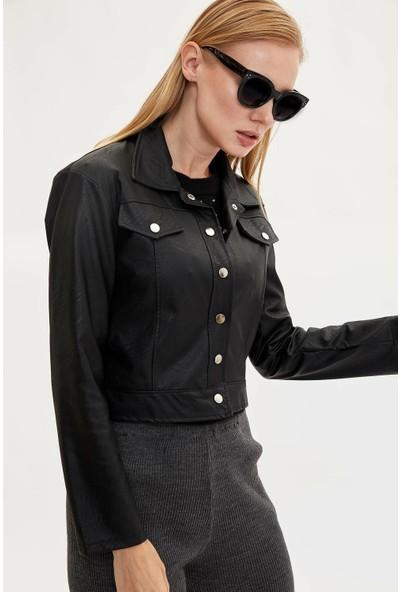 Defacto Kadın Suni Deri Ceket