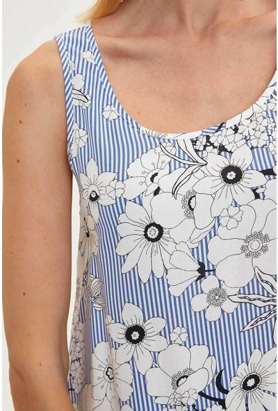 DeFacto Çiçekli Kolsuz Elbise M3033AZ19AU