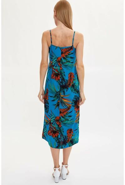 DeFacto Desenli Aksılı Dokuma Elbise M3034AZ19AU