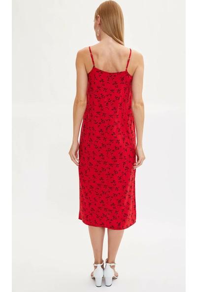 Defacto Kadın Desenli Aksılı Dokuma Elbise