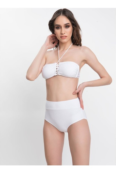 Armes Kadın Bikini Takımı Boyundan Bağlı Beyaz 9608-K25