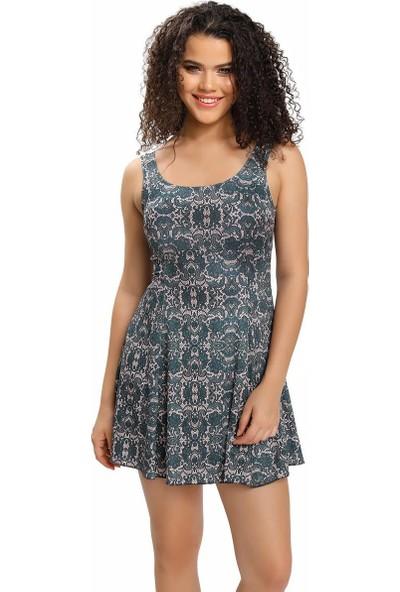 Armes Kadın Elbise Mayo Etekli Desenli Gri 9002-616