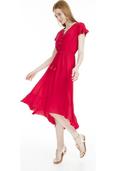 Lela Düğme Detaylı Midi Kadın Elbise 51919068