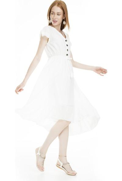 Lela Düğme Detaylı Midi Elbise Kadın Elbise 51919068