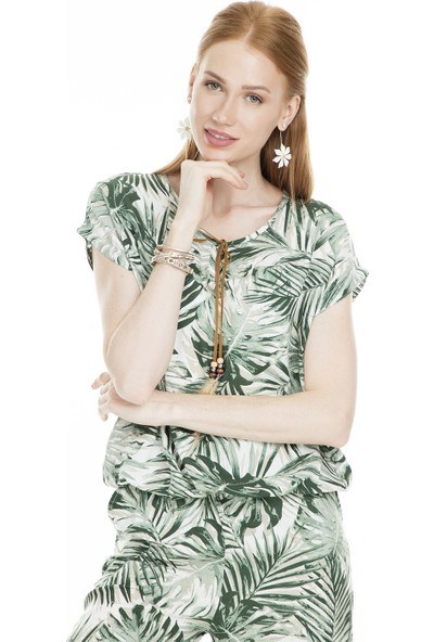 Lela Tropikal Desenli Kadın Bluz 5301742