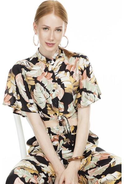 Lela Bağlamalı Crop Kadın Gömlek MK19S163261