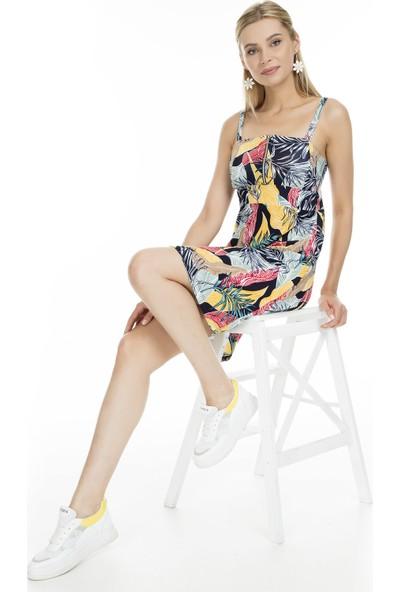 Lela Desenli Önden Fermuarlı Kadın Elbise MK19S284758