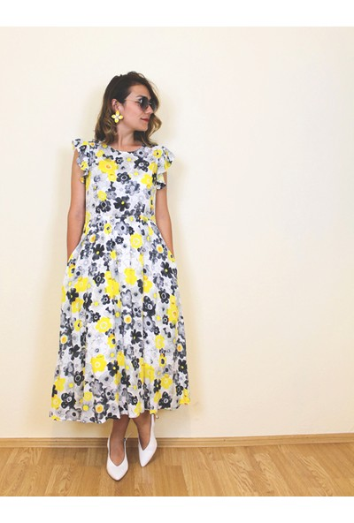 Bukika Kadın Kolları Fırfırlı Çiçekli Elbise