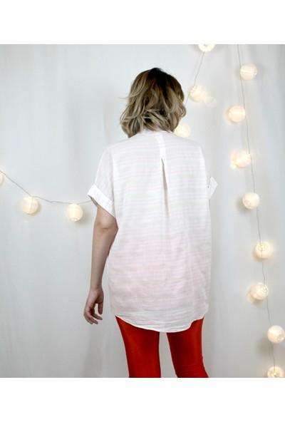 Bukika Kadın Keten Pembe Çizgili Kısakollu Gömlek Sun