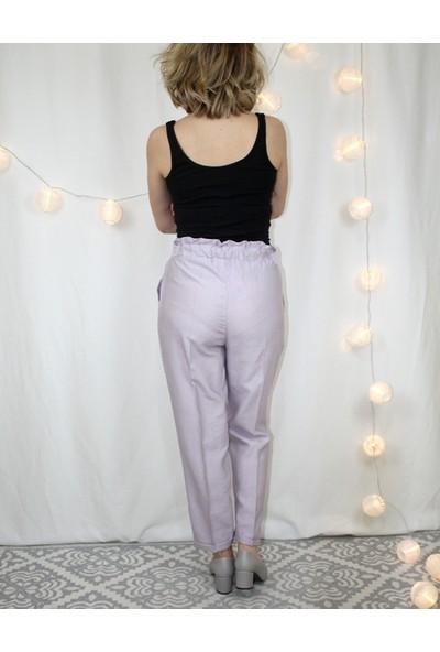 Bukika Kadın Düğmeli Beli Lastikli Yüksekbel Pantolon