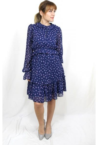 Bukika Kadın Fırfırlı Şifon Mini Elbise Xsp11216