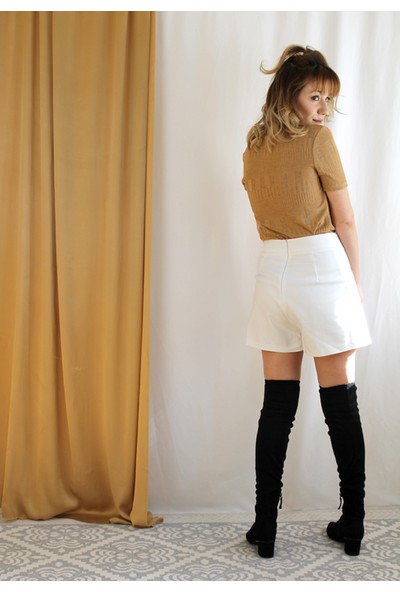 Bukika Kadın Önden Düğmeli Beyaz Etek Xok6520