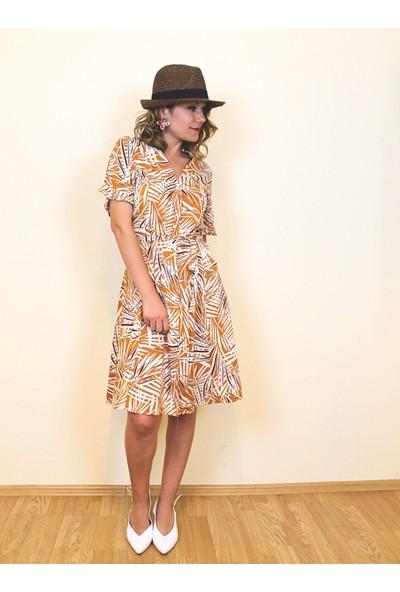 Bukika Kadın Önü Düğmeli Yaprak Desenli Mini Elbise