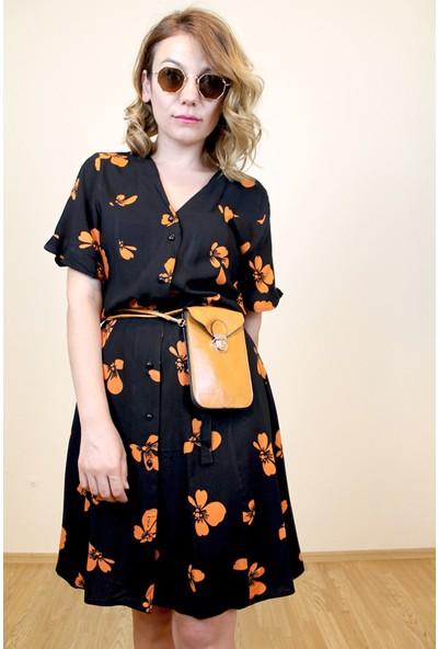 Bukika Kadın Önü Düğmeli Siyah Mini Elbise