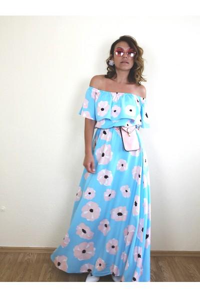 Bukika Kadın Madonna Yaka Çiçekli Elbise