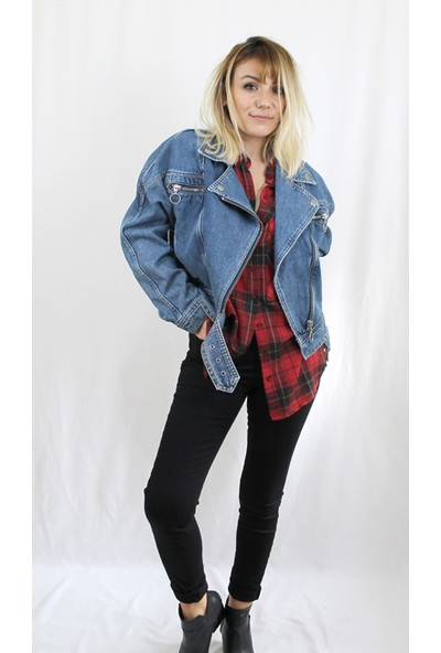 Bukika Kadın Mavi Vintage Jean Ceket