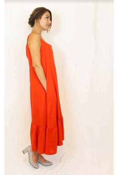 Bukika Kadın Ucu Fırfırlı Elbise