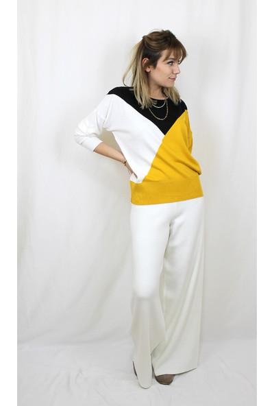Bukika Kadın Sarı Siyah Geometrik Desenli Triko Xsk15719