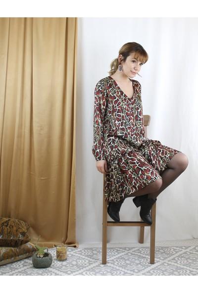Bukika Kadın Yılan Desenli Fırfırlı Mini Elbise Xok2234