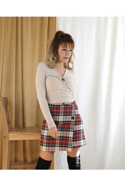 Bukika Kadın V Yakalı Tokalı Triko Bluz Xoa51