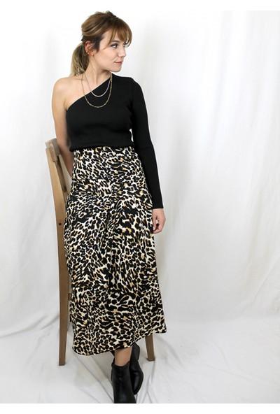 Bukika Kadın Leopar Desenli Yandan Pileli Etek Xsp4073