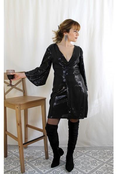 Bukika Kadın Pullu V Yaka Mini Elbise Xsz301