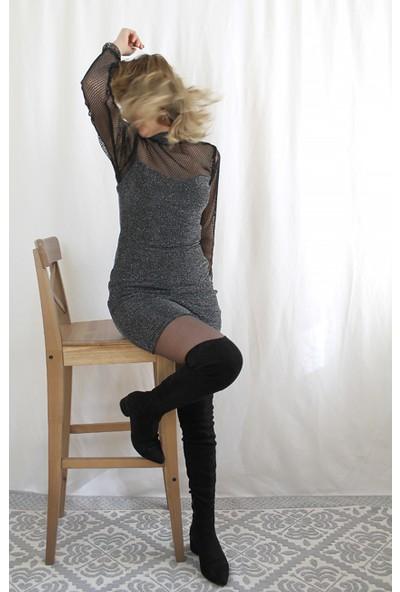 Bukika Kadın Simli Kolları Pile Mini Dar Elbise Xsz302