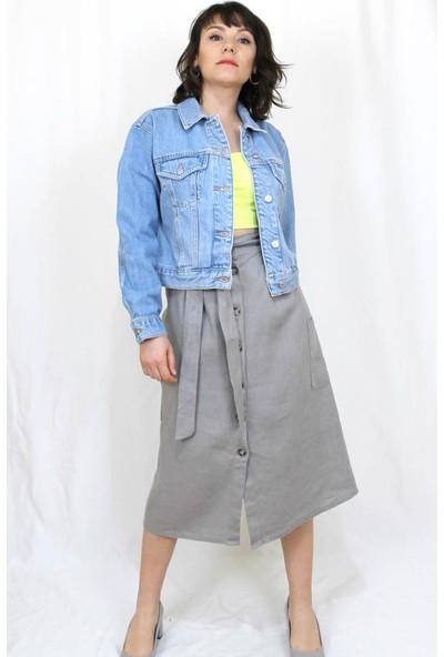 Bukika Kadın Mavi Basic Kısa Jean Ceket Xyf120003