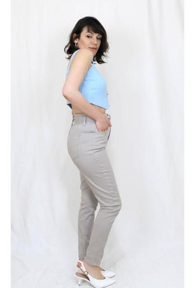 Bukika Kadın Yüksekbel Kemerli Kemik Rengi Pantolon Xyk1932