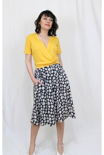 Bukika Kadın Sarı Kruvaze Yaka Mini Bluz Xyw010