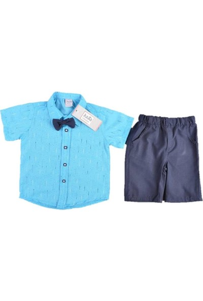 Juuta 002-1-Erkek 1-4 Yaş Çizgi Desen Papyonlu Takım 43809 Erkek Çocuk Giyim