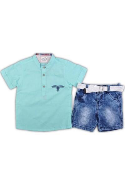 Juuta 019-Erkek 3-6 Yaş Hakim Yaka Kot Şortlu Takım 45235 Erkek Çocuk Giyim