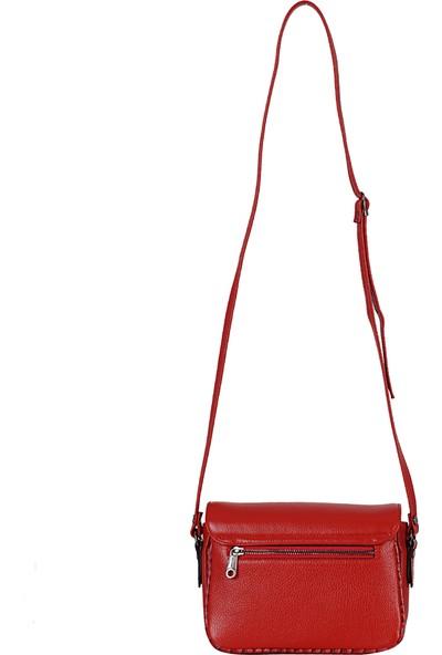 Desisan 6031 Kadın Hakiki Çapraz / Postacı Çantası Çantası Kırmızı