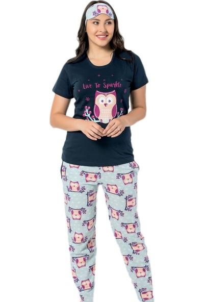 Pijama Evi Lacivert Baykuş Desenli Kısa Kollu Kadın Pijama Takımı