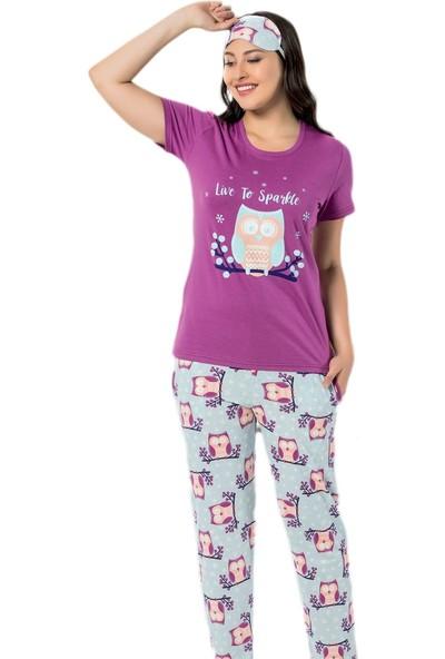 Pijama Evi Lila Baykuş Desenli Kısa Kollu Kadın Pijama Takımı