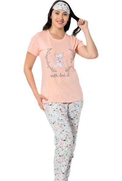 Pijama Evi Pembe Kuş Desenli Kısa Kollu Kadın Pijama Takımı