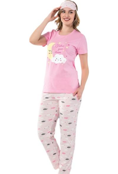 Pijama Evi Bulut Ay Desenli Kısa Kollu Kadın Pijama Takımı