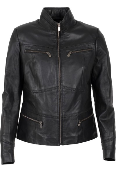 By Motto Florentina Kadın Motorcu Siyah Deri Ceket