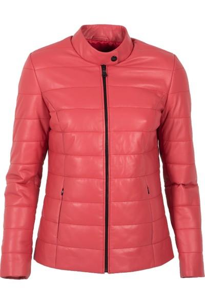By Motto Quartz Kadın Sport Kırmızı Deri Ceket