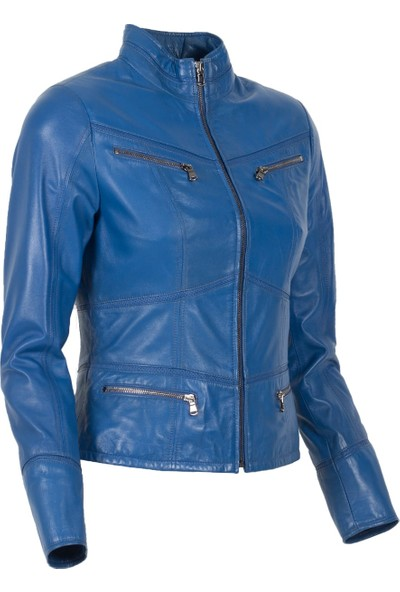 By Motto Florentina Kadın Motorcu Mavi Deri Ceket