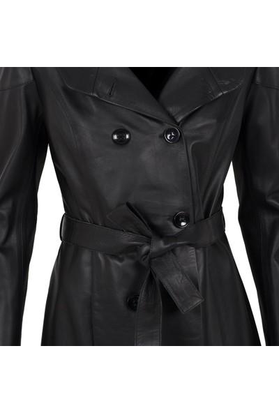 By Motto Mulberry Kadın Kapüşonlu Deri Ceket