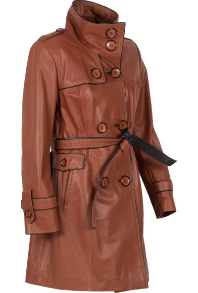 By Motto Amethyst Antik Kadın Deri Trençkot Ceket