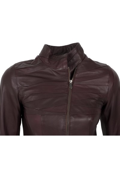 By Motto Virginia Bordo Antik Sport Kadın Deri Ceket