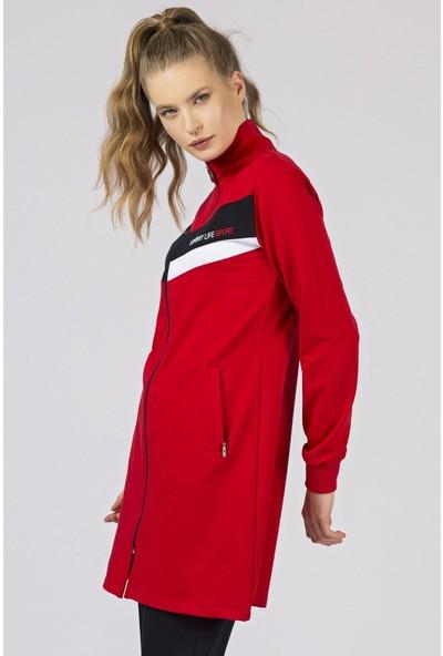Tommy Life Sport Ön Garnili Kırmızı-Lacivert Eşofman Kadın Tunik Takım