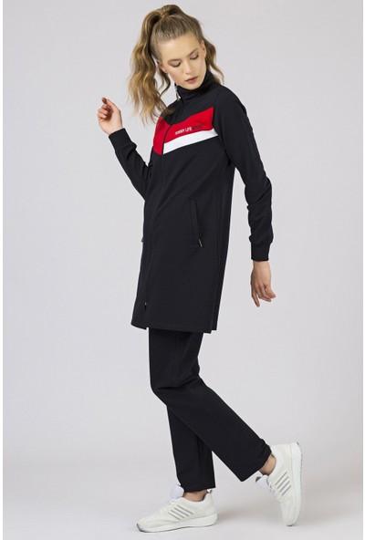 Tommy Life Sport Ön Garnili Lacivert Eşofman Kadın Tunik Takım