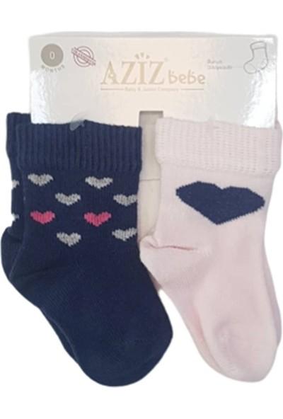 Aziz Bebe C35419 Kız Bebek Dikişsiz 2'li Çorap