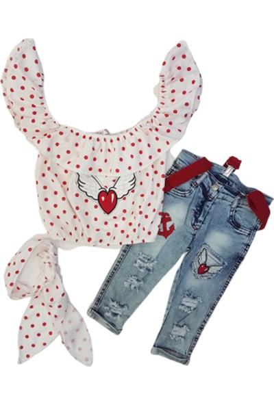Cemi Kids 1140 Kız Çocuk Kanatlı Kalp Nakışlı Pantolonlu Takım