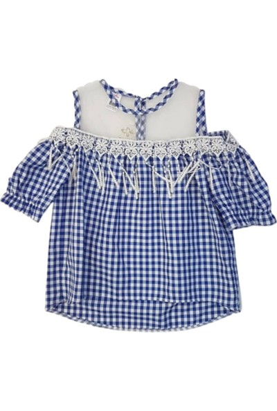 Miss Bella 1966 Kız Çocuk Ekose Desen Kısa Kol Bluz
