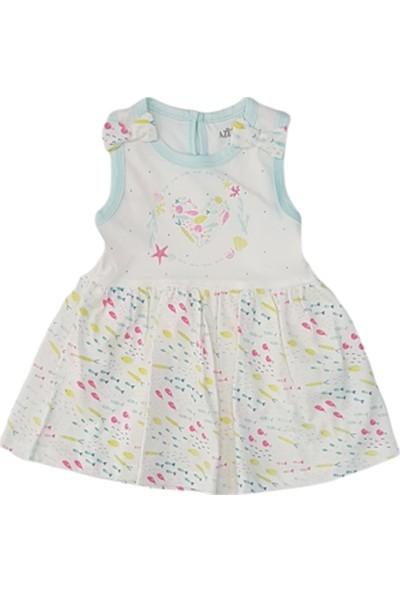 Aziz Bebe 52222 Kız Bebek Küçük Balık Baskılı Penye Elbise