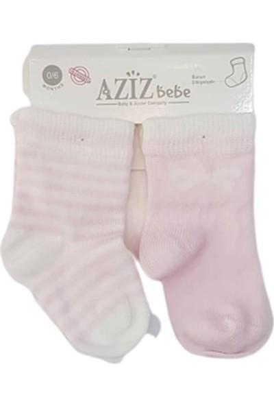 Aziz Bebe C35484 Kız Bebek Burun Dikişsiz 2'li Çorap